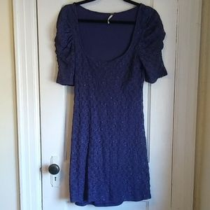 Free People Rouched Sleeve Lace Dress